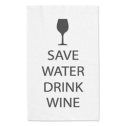 Save Eau Boisson Vin Blanc Torchon Gris Texte Maman Ami