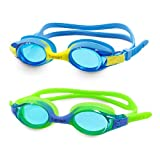 VETOKY Kids Swim Goggles, Anti Fog Swimming Goggles UV Protection Clear No Leaking for Child and Youth Ages 4-10 Blue+Green