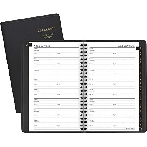 AT-A-GLANCE 8001105 Telephone/Address Book, 4-7/8 in x 8 in, Black
