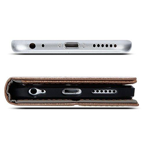 iPhone 6 Hülle, GMYLE Wallet Case Clip für iPhone 6 - Dark Champagne & Brown PU Leder Stand Hülle Tasche Etui