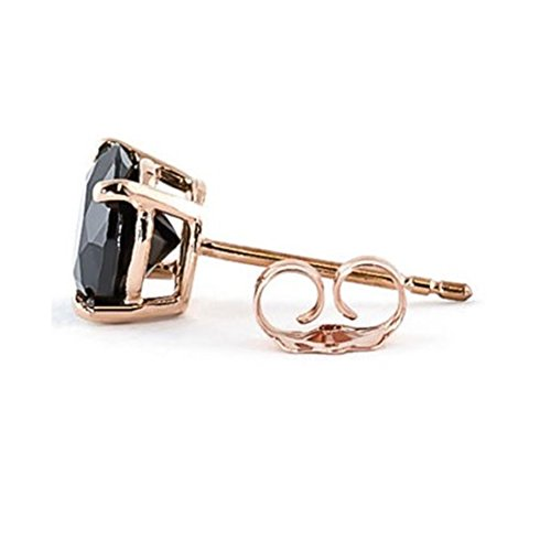 This 2.05 Cts Black Diamond Solitaire Studs in Rose Gold Would Make A Wonderful Gift for Partner by Gems River