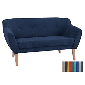 Canapé scandinave BERG style nordique bleu marine pied bois ...