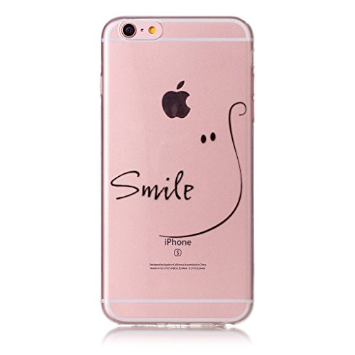 iPhone 6 / 6S Coque , Leiai Transparent Mode Ultra-mince ?il (Smile) Silicone Doux TPU Housse Gel Etui Case Cover pour Apple iPhone 6 / 6S