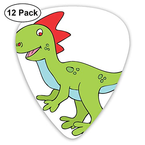Halloween Cute Dinosaur Clipart Ultra Light 0.46 Medium 0.73 Heavy 0.96mm Printed Round Flat Soft Plastic Jazz Electric Acoustic Bass Guitar Pick Accessories Variety Pack -