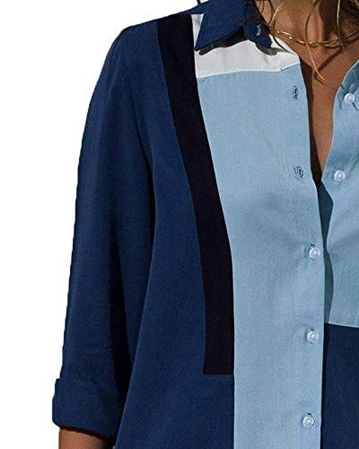ShallGood Manche Et Chic Up Chemisier Chemise Femme B Col Blouse V Shirt Top Tunique Longue Classique Couleur Top Bleu Haut Ray Mousseline Unie Button 5rX5Hw