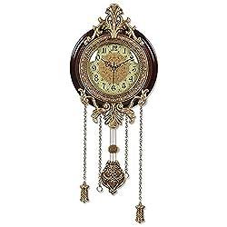 PINCHU Large Wall Clock European Style Clock Duvar Saati Horloge Wood Mute Pendulum Clocks,B
