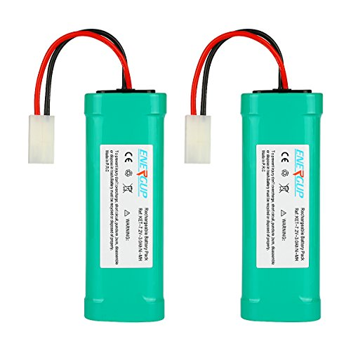 Energup 7.2V 3000mAh Flat NiMH High Power Battery Packs with Tamiya Connectors for KET Connectors for RC Cars, RC Truck, RC Airplane, RC Helicopter, RC Boat(2 Pack)