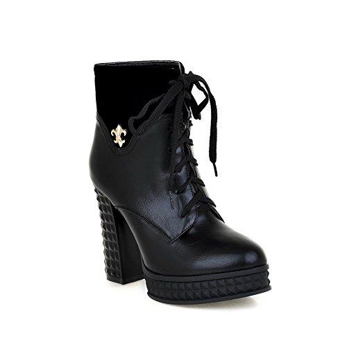 AmoonyFashionWomens Round Closed Toe High PU Heels PU High Short Plush Solid Boots with Metalornament, Black, 4.5 B(M) US B00OLFFUSC Shoes 830aa1