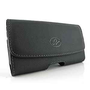 Black Carrying Cell Phone Leather Case Belt Clip Holster Pouch For Alcatel OneTouch Pop 2 -4.5 5042A ( fits phone with Mophie Juice Pack or Extended Battery on it)