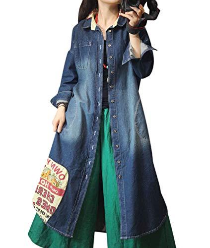 YESNO YG4 Women Long Loose Maxi Denim Jacket Casual Trench Outer Coat Stitched Large Hem ()