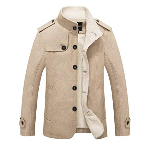 Warmth Windproof Plus Men Fake Men Winter Slim Stand Rme Overcoat Leisure Velvet Warm Fur Men's Ropa Thicken Collar Khaki Autumn Fit 1x6Wpq7