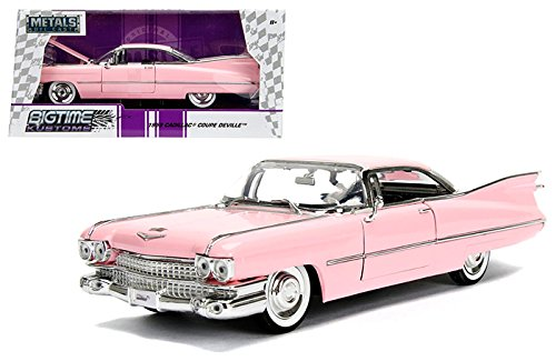 NEW 1:24 W/B JADA TOYS BIGTIME MUSCLE COLLECTION - 1959 Cadillac Coupe DeVille Pink Diecast Model Car By Jada Toys
