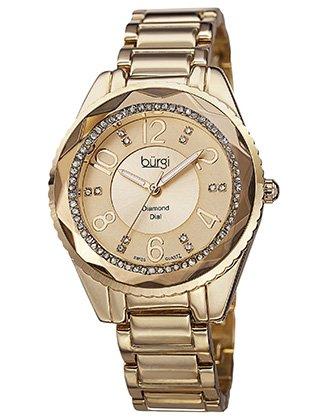 Burgi Women's BUR132YG Swiss Quartz Diamond Dial Gold-tone Bracelet Watch