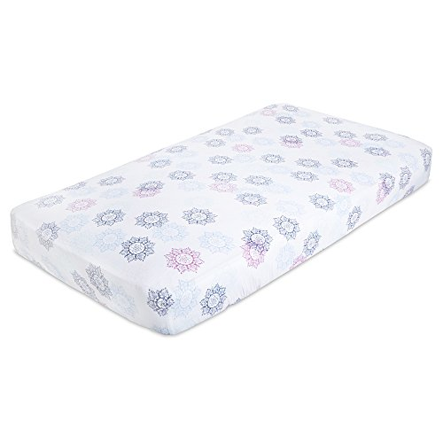 aden by aden + anais Classic Crib Sheet, 100% Cotton Muslin, Super Soft, Breathable, Tailored Snug Fit, Pretty Pink - (Crib Medallion)