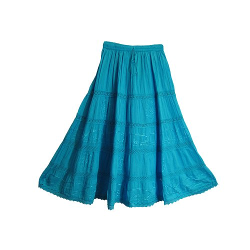 Bohemian Blue Embroidered Lace 3-tier Gauze Cotton Long Maxi Skirt