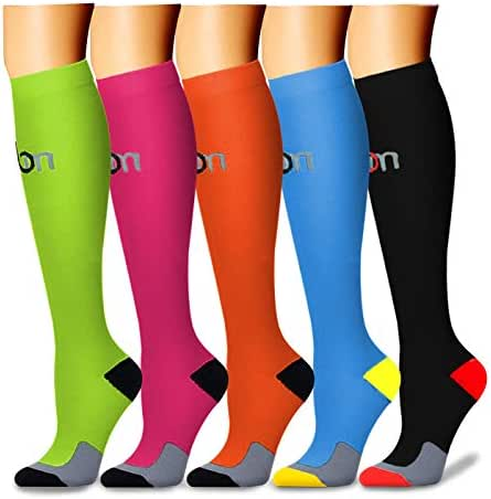 Copper Compression Socks (5 Pairs) 15-20 mmHg is Best Graduated Athletic & Medical for Men & Women Running Travel