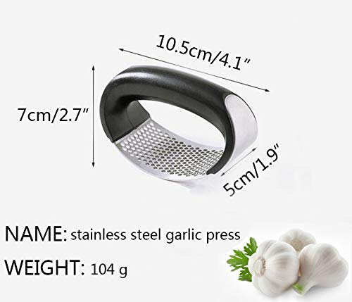 Stainless Steel Garlic Ginger Press Crusher Squeezer Slicer Mincer Chopper Kitchen Gadget with Handle New black 2019