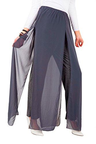 Fashions Eur Mousseline Foncé 42 Mesdames Palazzo Gris Pantalon Ouvert Doublé De 36 Taille En amp;ayat Fente Momo Soie Côté 5wHOqY