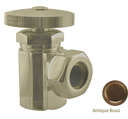 06 Antique Brass Angle - IPS Angle Stop, Antique Brass, Inlet 1/2 IPS, Outlet 1/2 O.D. , Slip Joint