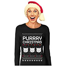 Purrry Christmas Ugly Sweater Gift for Cat Lover Women Long Sleeve T-Shirt