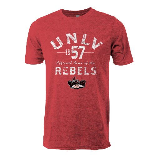 NCAA UNLV Rebels Tri Blend Short Sleeve Tee, Small, Vintage Red - Rebels Cycling Jersey