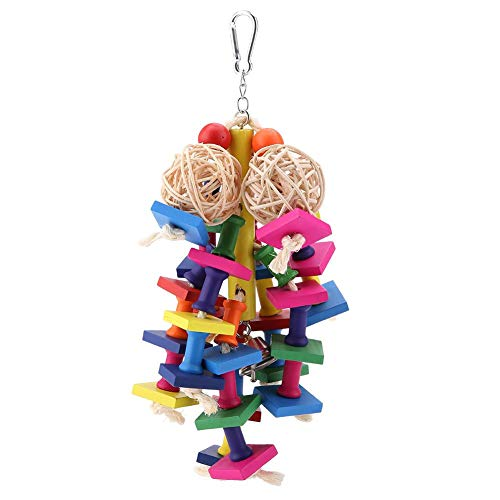 TOPINCN Parrot Toy Knots Block Chewing Toy Sisal Rope Square String Swing Hanging Toy Parrot Nest Suitable for Small Parrots Birds Cage Pet Supplies