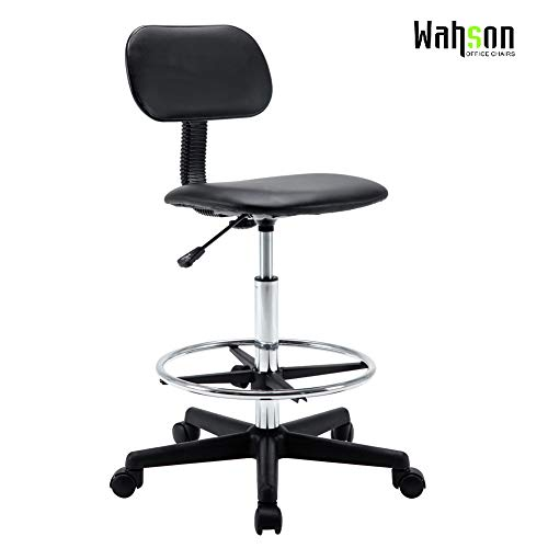 stable Office Task Chair Work Stool with Wheels for Home Office Workplace Studio Guitar Practice, Seat Height 23.5-31.5 '' ()