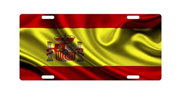 Placa de matrícula personalizada MNUT Espa?a bandera de España Onda placa de matrícula de 15,24 x 30,48 cm: Amazon.es: Hogar