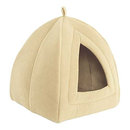 PETMAKER Cat Pet Bed, Igloo- Soft Indoor Enclosed Covered Tent/House for Cats, Kittens, and Small Pets with Removable Cushion Pad by (Tan)