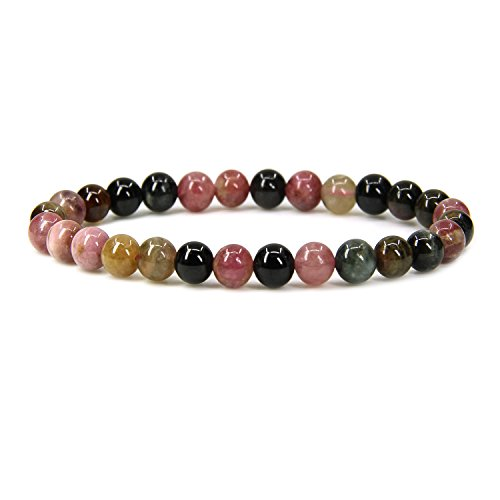 Natural A Grede Multicolor Tourmaline Gemstone 6mm Round Beads Stretch Bracelet 7