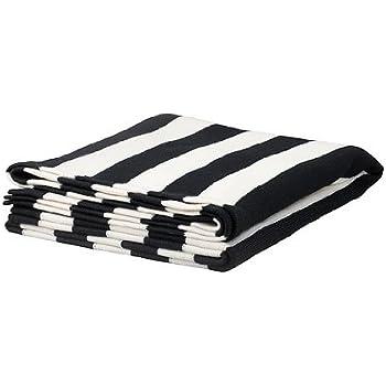 Amazon Ikea Striped Knit Throw Blackwhite Home Kitchen Impressive Black And White Striped Throw Blanket