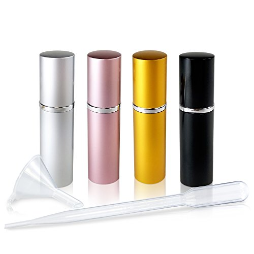 Refillable Glass Perfume & Cologne Fine Mist Atomizers with Metallic Exterior - Portable Travel Size - 3ml Squeeze Transfer Pipette Included - 4 Pc Pack of 5ml (Silver, Black, Gold & Pink) (Pump Pack Bottle Case)