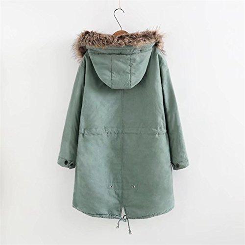 NiSeng Damen Steppmantel Winter Warme Outwear Mantel Pelzkragen Mit Kapuze  Langarm Wintermantel Winterjacke Parka Hell Grün ...