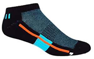 MOXY Socks No-Show Performance AiRFLeX Yoga Socks, Black/Electric Blue/Orange