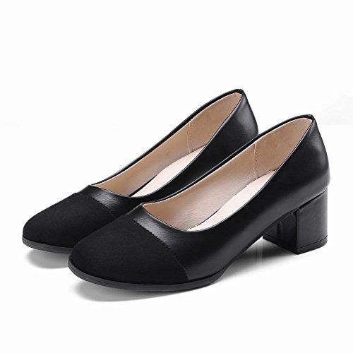 Charm Foot Womens Vintage Tacco Medio Pompe Con Tacco Medio Nero