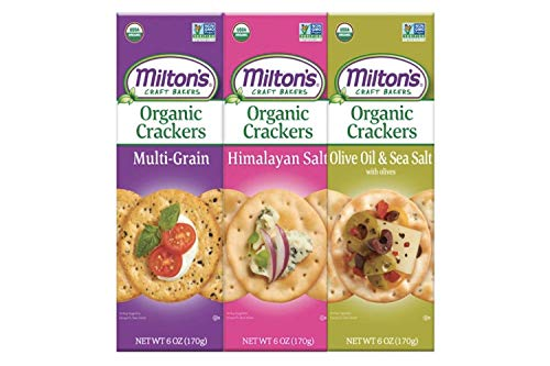 Miltons Organic Crackers, 3 Flavor Variety Bundle. Crispy & Organic Baked Grain Crackers (Multi-Grain, Himalayan Salt, and Olive Oil & Sea Salt, 6.0 oz) (3 Flavor ()