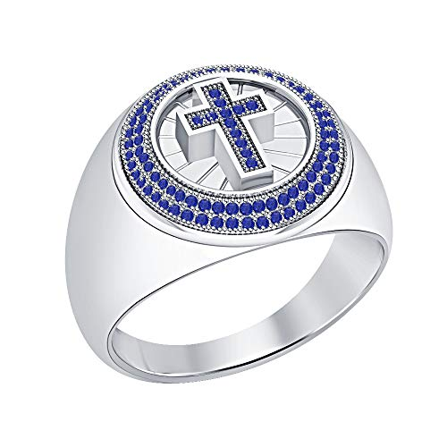 RUDRAFASHION 14K White Gold Plated Round Blue Sapphire Engagement Wedding Cross Band Ring for Men's