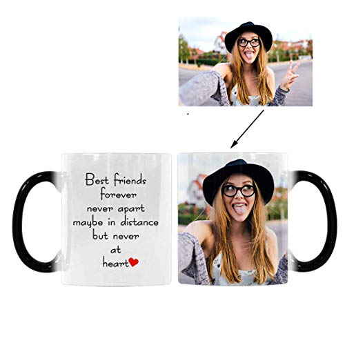 Custom Personalized Heat Sensitive Coffee Mug, Best Friends Forever Never Apart Long Distance Friendship Color Changing Morphing Tea Cup Funny for Mom, 11 Ounce