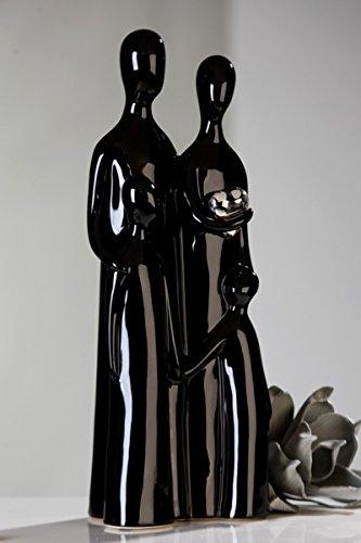 Dekorative Skulptur FAMILIE aus Keramik schwarz//silber H/öhe 38 cm