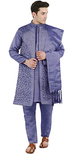 SKAVIJ Men's Embroidered Kurta Pajama Jacket and Stole Set (Medium, Blue)