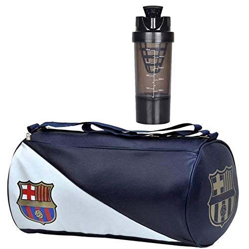 5 O' CLOCK SPORTS Gym Bag Combo Set Enclosed with Soft Leather Gym Bag for Men Fitness – Blue FCB, Black Cyclone Shaker