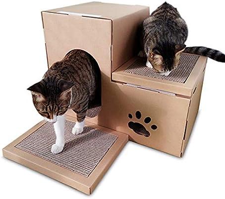 Casa de cartón para gatos, Tablero rascador para gatos corrugados ...