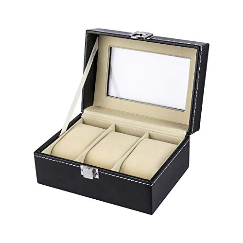 HOUSWEETY Watch Box Small 3 Mens Black Leather Display Glass Top Jewelry Case Organizer