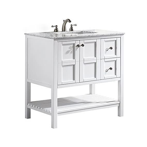 "Vinnova 713036-WH-CA-NM Florence 36"" Vanity in White with Carrera Marble Countertop Without Mirror, Inch - Solid Oak Wood with Laminated Veneer Panels Lends eclectic flair to any bathroom decor Ample space for toiletries - bathroom-vanities, bathroom-fixtures-hardware, bathroom - 415YoOTDcEL. SS570  -"