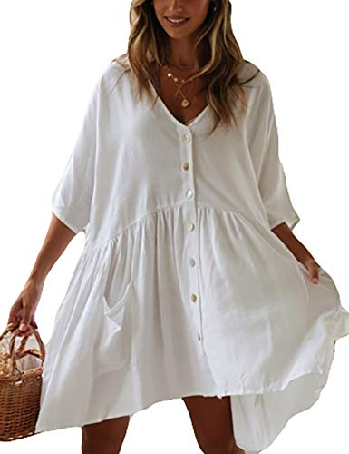 Bsubseach Women Casual Bikini Swimsuit Cover Up Blouses Beach Tunic Dress One Size