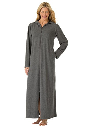 Dreams & Co. Women's Plus Size Long Ultra-Soft Fleece Hoodie Robe . Heather (Womens Plus Size Robes)