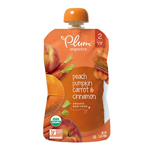 Plum Organics Stage 2, Organic Baby Food, Peach, Pumpkin, Carrot & Cinnamon, 3.5 oz pouches (Pack of 6)