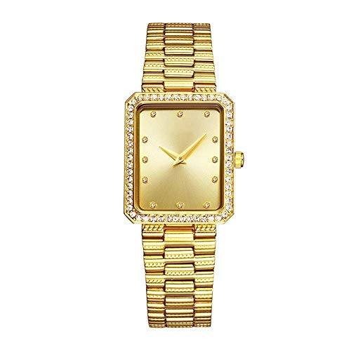 BEWITCHYU  Practical Wristwatches Women 's Simple Diamond 10Mm Rectangular Quartz Watch 33 * 26Mm Solid Steel Belt Casual Fashion Waterproof Decorative Watch BraceletGold
