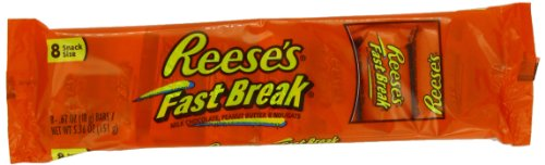 REESE'S FAST BREAK Candy Bar, Milk Chocolate Covered Peanut Butter and Nougat Candy Bar, 5.36 Ounce Bar (Pack of (Chocolate Covered Nougat)