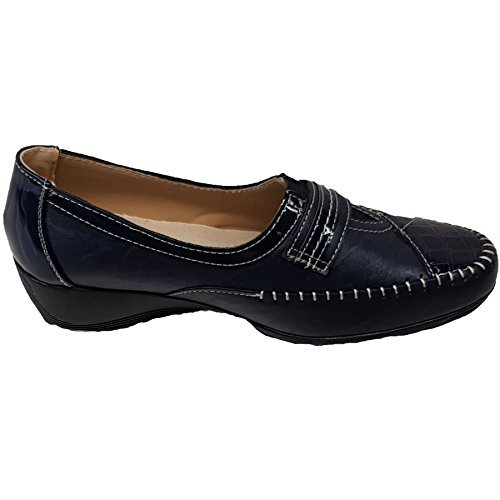 Ladies Comfortable Sole Low Heel Slip On Strap Patent Leather Shoes [Blue, UK 5]